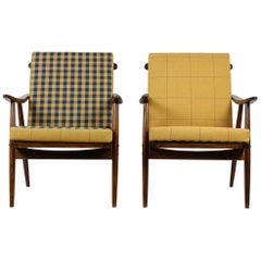 Wooden Armchairs from TON with Double-Sided Checkered Pillows, 1970s, Set of Two