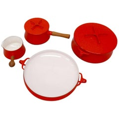 Four Pieces Dansk JHQ France Red Enamel Cookware