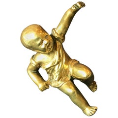 Gilt Bronze Baby Sculpture Paperweight, France, 1950