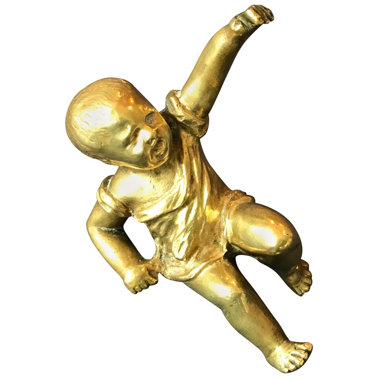 Gilt Bronze Baby Sculpture Paperweight, France, 1950 For Sale
