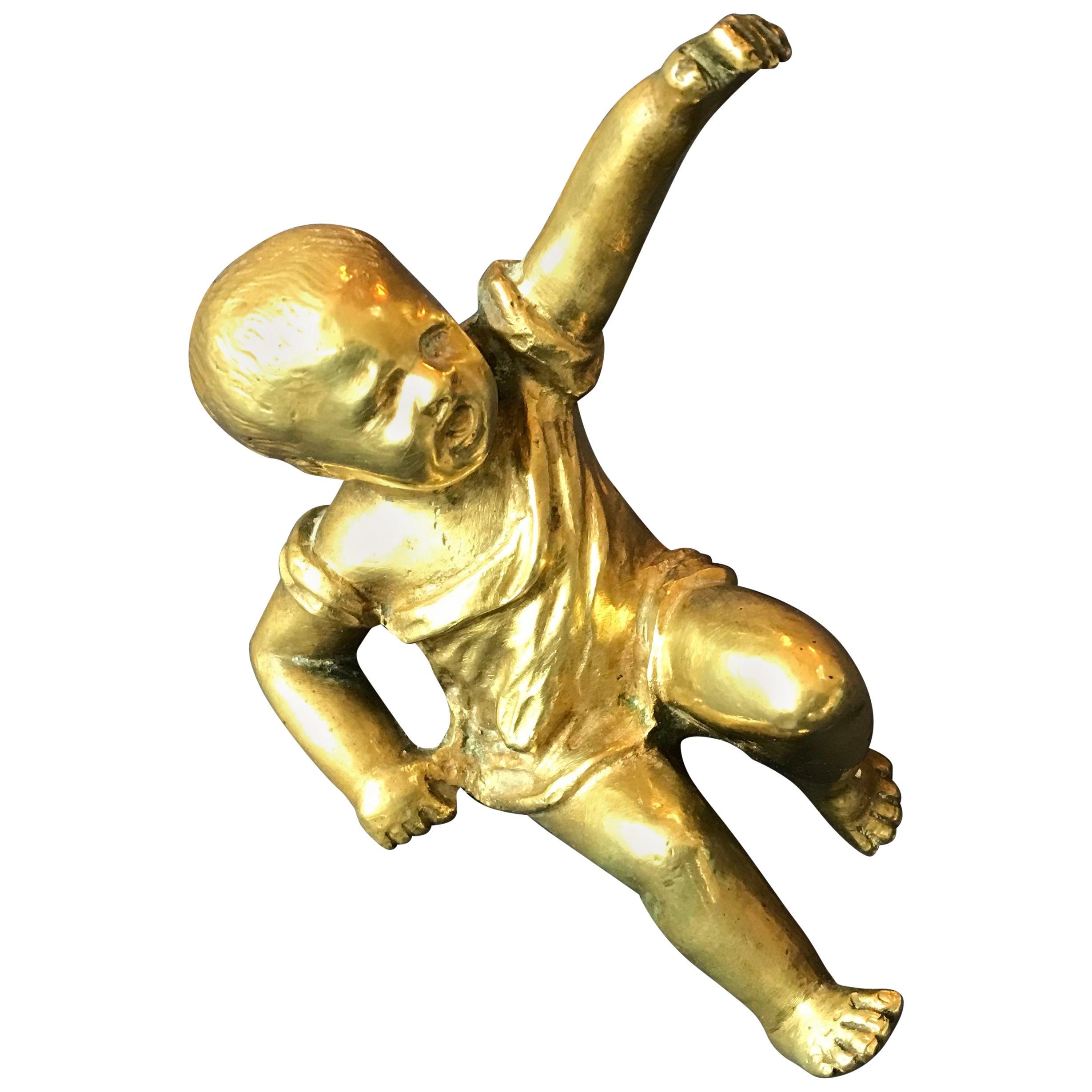 Gilt Bronze Baby Sculpture Paperweight, France, 1950