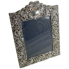 Large Antique English Sterling Silver Photograph Frame by Henry Matthews