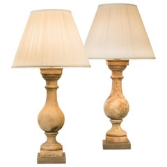 Pair of Tall French Neoclassical Terracotta Baluster Lamps