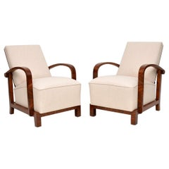 Pair of Swedish Art Deco Walnut Armchairs