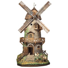 Vienna Bronze Cold Painted Windmill Lamp, circa 1900
