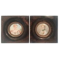 Pair of Miniature Portraits of Napoleon II & Imperatrice Marie Louis of Austria