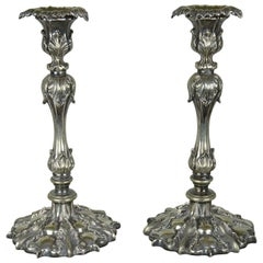 Pair of Antique Renaissance Revival Candlesticks, English Late 19th Century