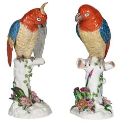 Heingle German Porcelain Parrots on Tree Trunk