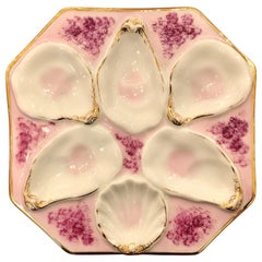 Antique Hand Painted Porcelain Continental Oyster Plate, circa 1890