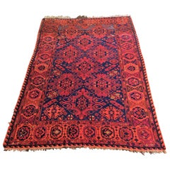 Hand Knotted Afghan Wool Rug, circa 1920