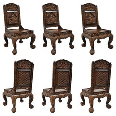 6 Hand-Carved Thai Oriental Teak Wood Dining Chairs with Dancing Female