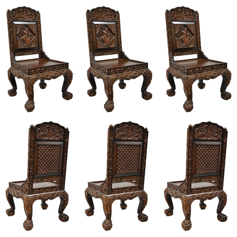 6 Hand Carved Thai Oriental Teak Wood Dining Chairs With Dancing Female For