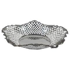Antique Tiffany American Edwardian Sterling Silver Basket Bowl