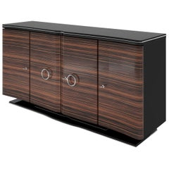 Curved Macassar Wood Art Deco Design Sideboard