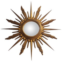 Midcentury Gilded Wood Sun Shaped Mirror, 1950s