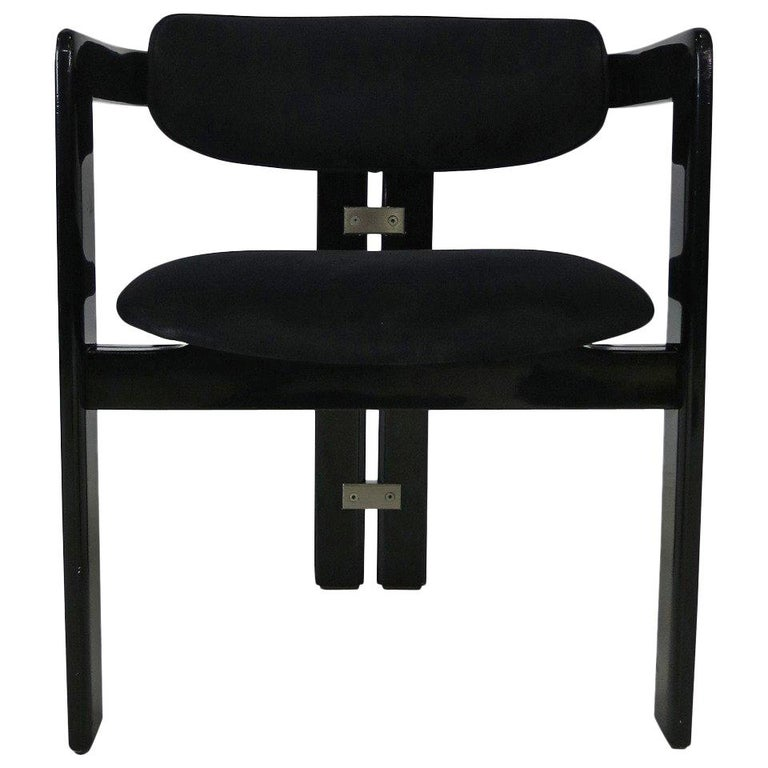 black lacquer pamplona chair by augusto savini for pozzi for sale at 1stdibs. Black Bedroom Furniture Sets. Home Design Ideas
