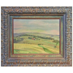 "Charles Fraser Comfort, OC, RCA, Oil on Panel, ""Farmland, Tecumseh Township"""