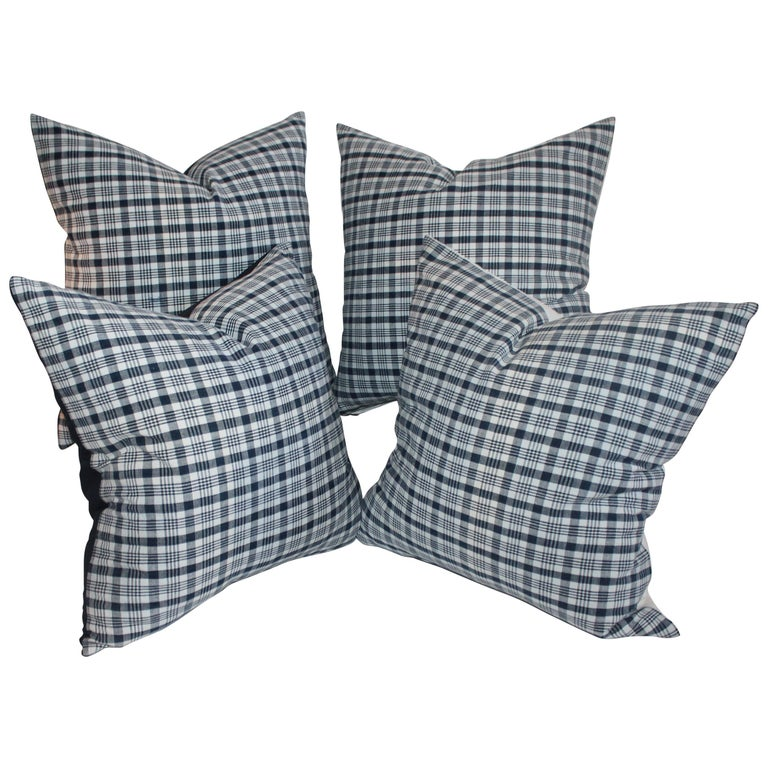 19th Century Homespun Linen Blue and White Pillows, Pair For Sale