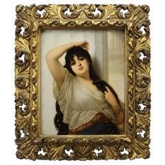 German Late 19th Century Berlin K.P.M. Porcelain Plaque Young Orientalist Beauty