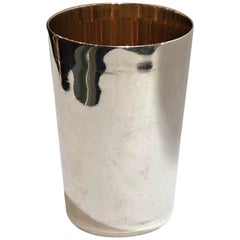 Set of 6 Sterling Silver Tumblers with 24-Karat Gold Interiors, circa 1900