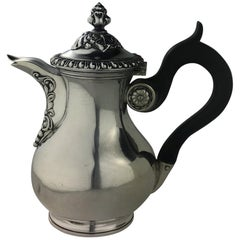 French Sterling Silver Coffee or Tea Pot, circa 1860 Stamped Martial Fray, Paris