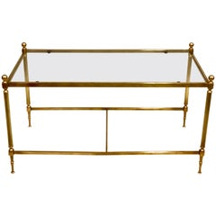 French Modern Neoclassical Solid Brass and Glass Coffee Table by Maison Jansen