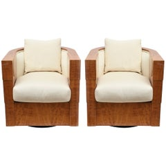 Pair of Limited Edition Pace Exotic Camino Wood Swivel Club Normandy Chairs