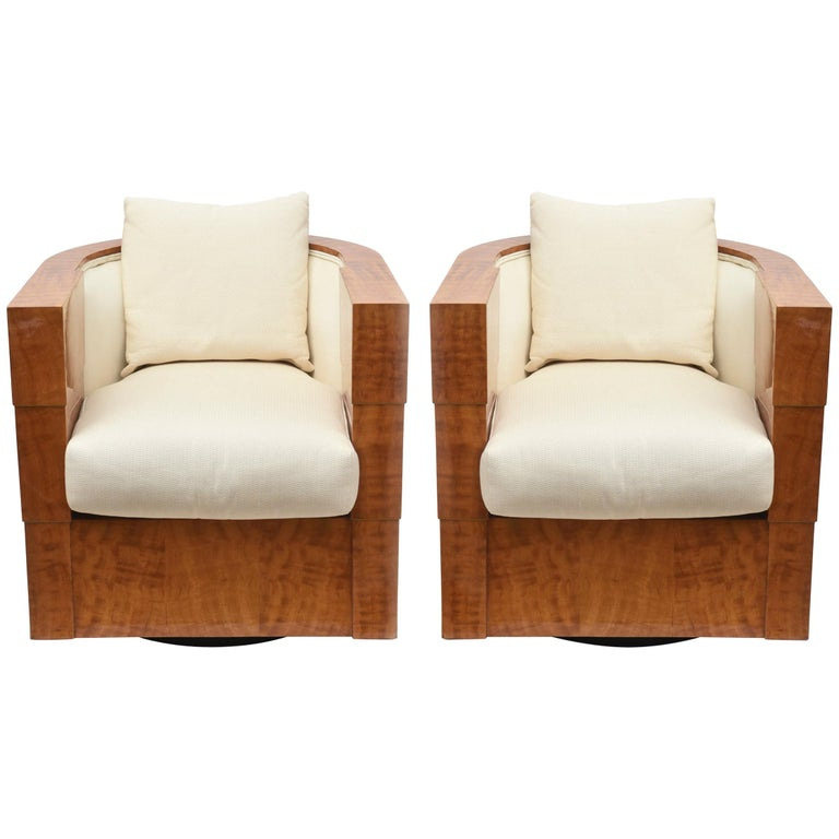 Pair of Limited Edition Pace Exotic Camino Wood Swivel Club Normandy Chairs For Sale