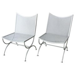Set of 2 Mid-Century Modern Bob Anderson Refinished Wrought Iron Side Chairs