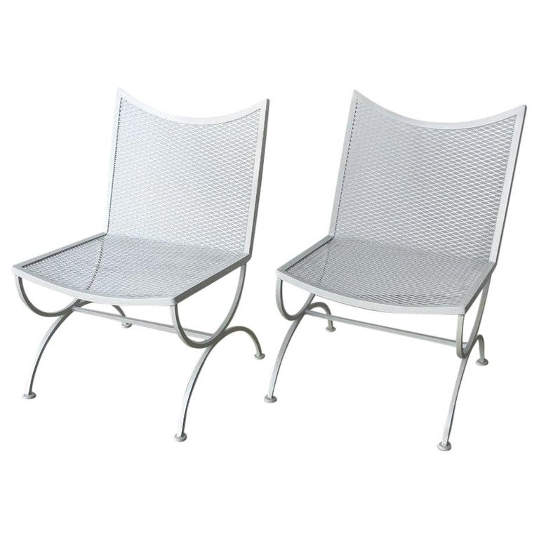 Set Of 2 Mid Century Modern Bob Anderson Refinished Wrought Iron Side Chairs For
