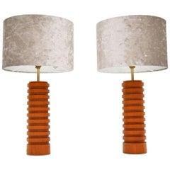 1960s Pair of Vintage Teak Table Lamps