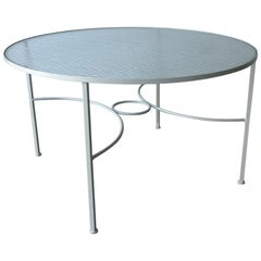 Midcentury / Late 20th Bob Anderson Wrought Iron and Glass Patio Dining Table