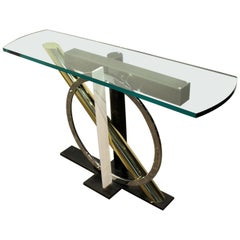 1980s Geometric Metal and Glass Console Table by Kaizo Oto for DIA