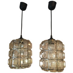One Lovely Pair of German Limburg Style Glass Pendant Lamps