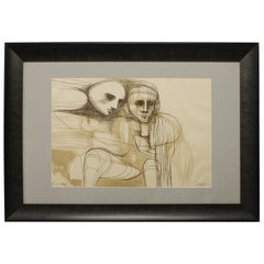 """1963 Color Lithograph """"Trial Proof"""" by Arnold Belkin"""