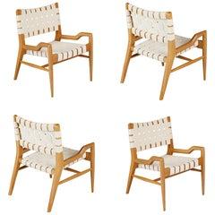 John Keal for Brown Saltman Sculptural Lounge Chairs, Set of Four, circa 1954