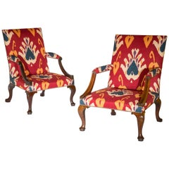 Matched Pair of Early 18th Century Walnut Library Armchairs in Red Ikat