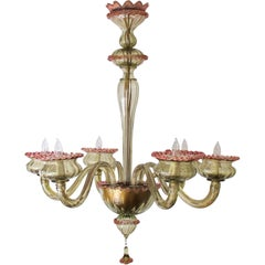Chic Murano 1950s Olive Green Glass 6-Light Chandelier with Pink Embellishments