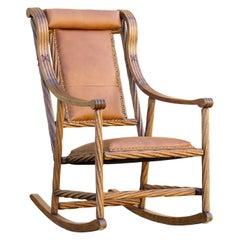 Victorian Twist Oak Rocking Chair in the Style of George Hunzinger