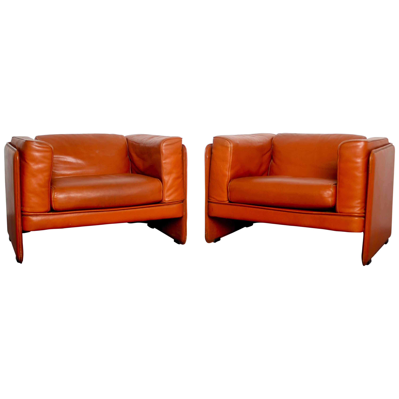 Mid Century Modern Italian Leather Armchairs by T. Agnoli  Poltrona Frau, 1980