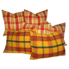 Plaid Pendleton Wool Blanket Pillows, Pair