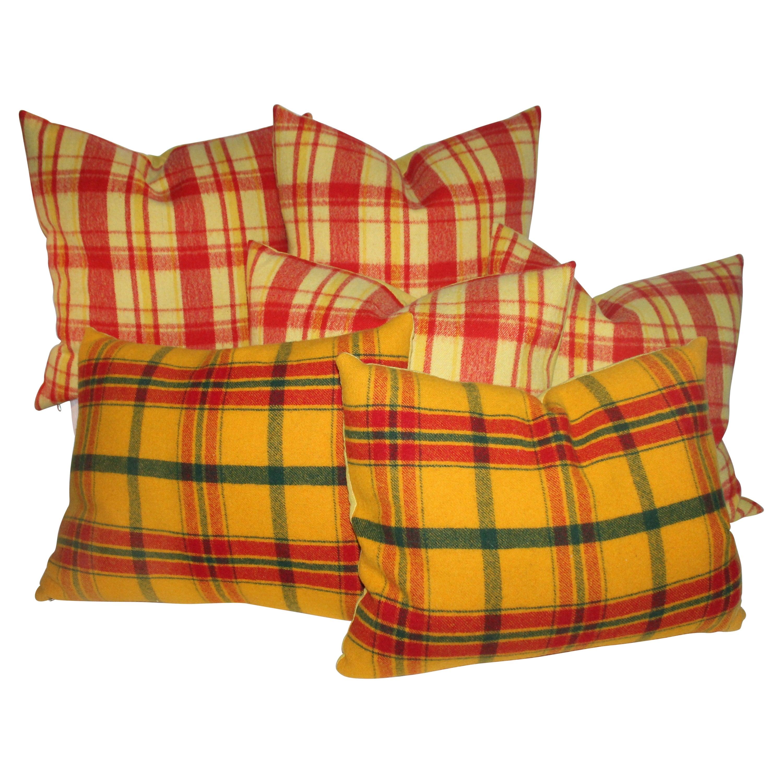Plaid Pendleton Wool Blanket Pillows, Pair