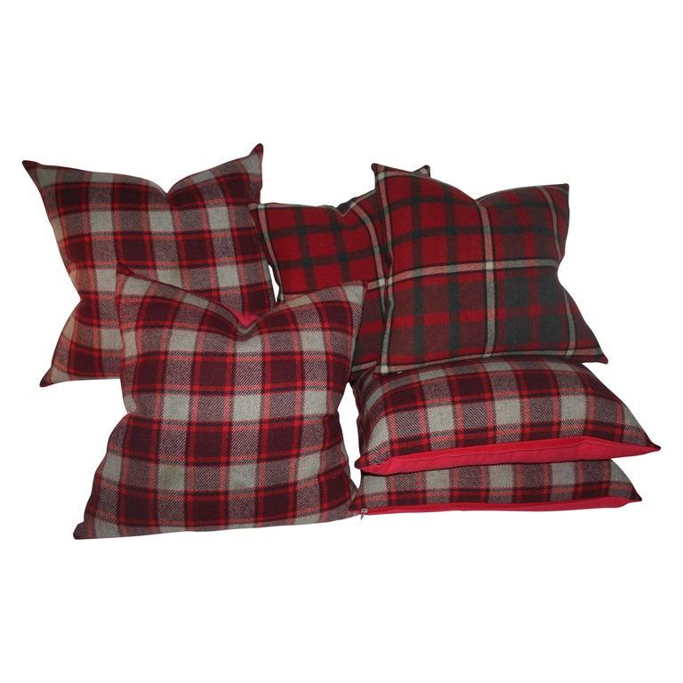 Wool Blanket Plaid Blanket, Pair For Sale