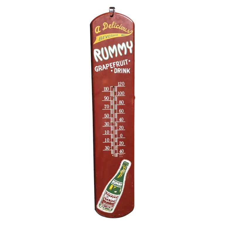 Rummy Grapefruit Soda Advertising Tin Thermometer Sign For Sale