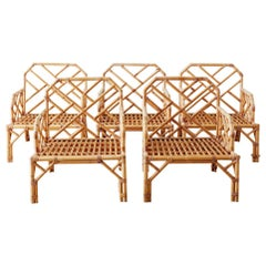 Brown Jordan Chinese Chippendale Rattan Bamboo Lounge Chairs