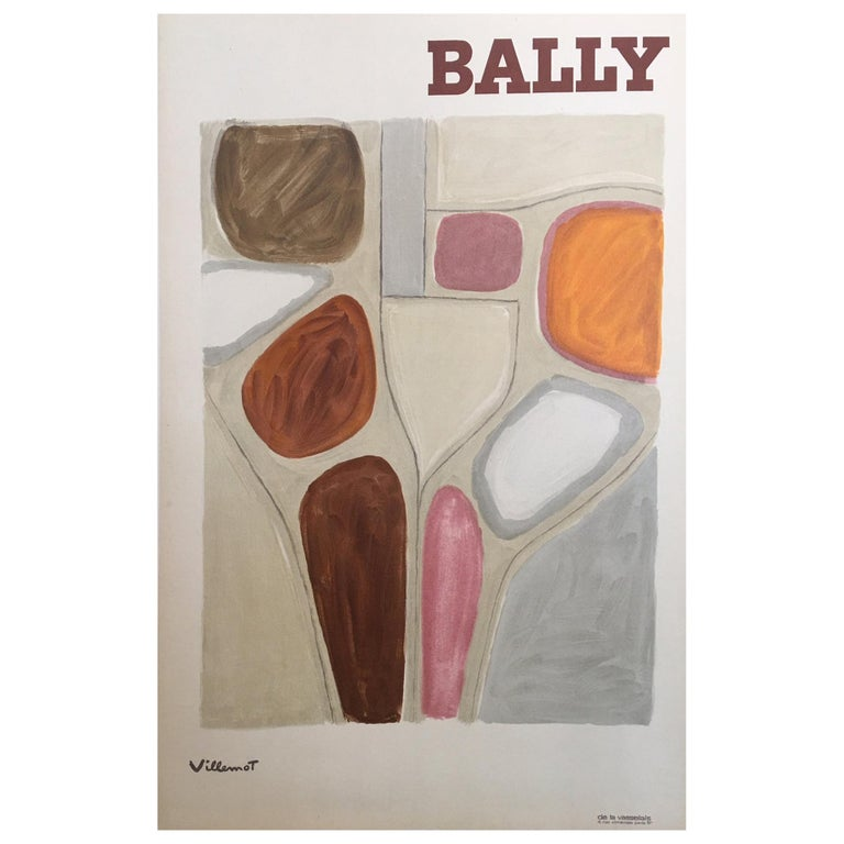 Original Vintage French Bally Abstract' Shoe Poster, by Bernard Villemot, 1971 For Sale