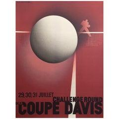 Original Vintage French Coupe Tennis Davis Cup by Cassandre A. M, 1980