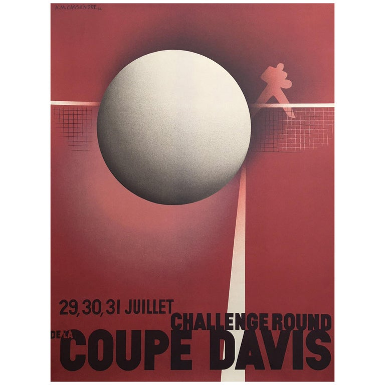Original Vintage French Coupe Tennis Davis Cup by Cassandre A. M, 1980 For Sale