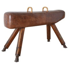 19th Century English Leather Gymnastic Pommel Horse