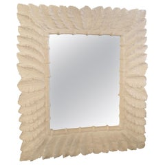 Vintage White Lacquered Tropical Palm Tree Leaf Leaves Wall Mirror Faux Bamboo